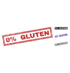 Grunge 0 percent gluten textured rectangle stamp vector