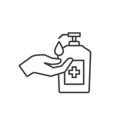 Hand with sanitizer liquid soap line icon vector