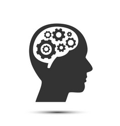 head with gears in brain object vector image