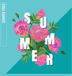 Hello summer botanical tropical design vector