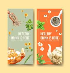 Herbal tea flyer design with peppermint vector