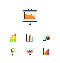Icon flat chart set of chart segment diagram and vector