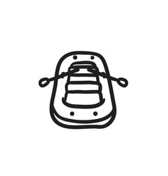 Inflatable boat sketch icon vector