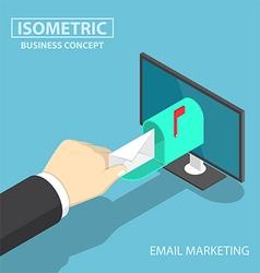 Isometric businessman hand getting mail vector