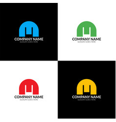 m logo icon flat and design template vector image