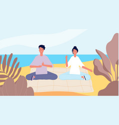 meditation on beach man woman morning relax mind vector image