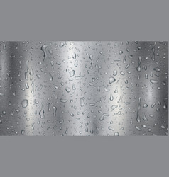 metal background with drops and streaks water vector image