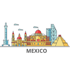 Mexico city skyline buildings streets vector