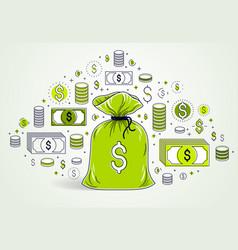 Money bag and dollar icon set design savings or vector