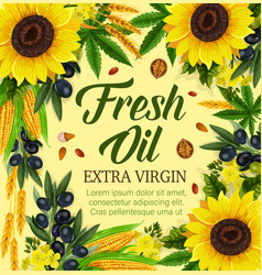 Natural cooking oil and vegetables vector
