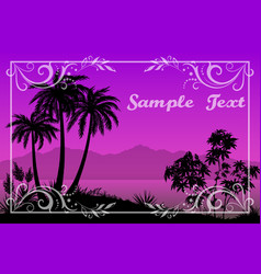 palms floral pattern and sea landscape vector image