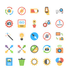 Photography flat colored icons vector