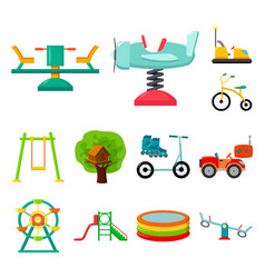 playground entertainment cartoon icons in set vector image