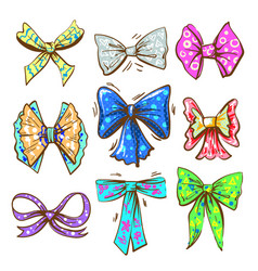 Pop art vintage bow or ribbon set vector