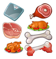 Raw meat scales bones cooked pig and chicken vector