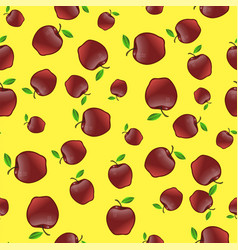Red apples with green leaves seamless pattern vector