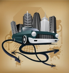 Retro city and car poster vector