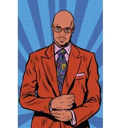 Retro hipster African American black man elegant vector