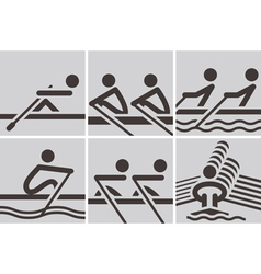 Rowing icons vector image