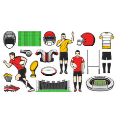 Rugby sport icons american football signs vector
