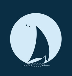 sailboat in the sea on the waves against the vector image