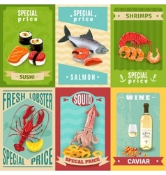 Seafood Poster Set vector