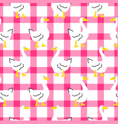 seamless pattern with a cute goose on checkered vector image