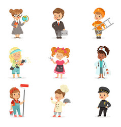 set cartoon professions for kids smiling vector image