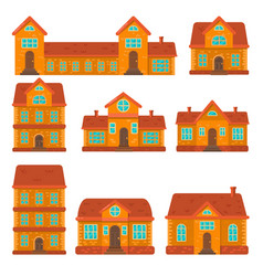 set houses in flat style design element vector image