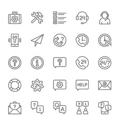 set of help and support line icons call center vector image