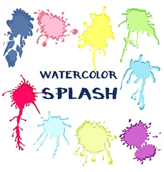 Set watercolor paint splash collection of color vector image