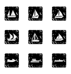 Ship icons set grunge style vector