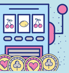 slot machine gambling casino chips image design vector image