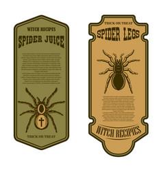 Spider juice spider legs halloween bottle label vector