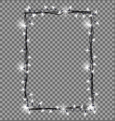 square frame made christmas lights sparkling vector image