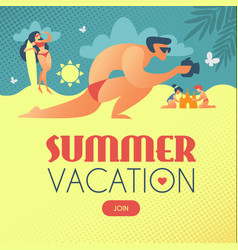 summer vacation photograthing man on beach vector image