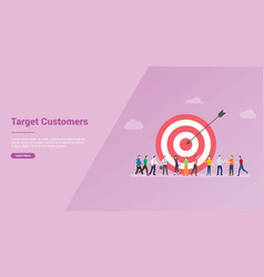 Target customers with people and goals dart for vector