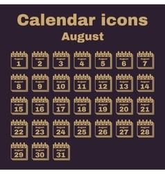 The calendar icon August symbol Flat vector