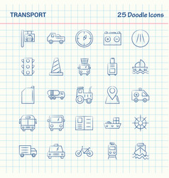 Transport 25 doodle icons hand drawn business vector
