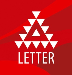 triangular logo letter A on a red background vector image