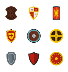 Various knight shield icons set flat style vector