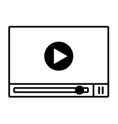video player screen website white background vector image