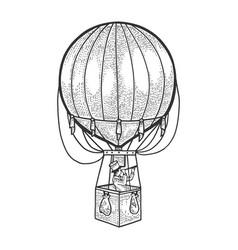 vintage air balloon sketch engraving vector image