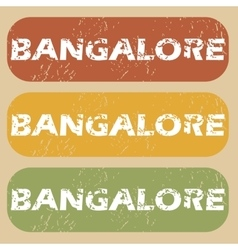 Vintage Bangalore stamp set vector image