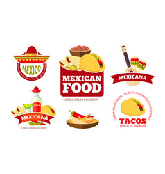 Vintage mexican restaurant graphics tacos vector