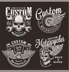 vintage monochrome custom motorcycle logos vector image