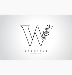 w letter logo with organic monogram plant leafs vector image