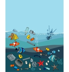 Water pollution in the ocean garbage and waste vector