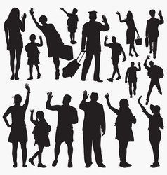 waving hand silhouettes vector image