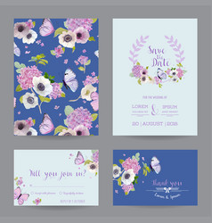 Wedding invitation template set botanical card vector